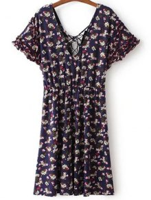 Lace Up V Neck Short Sleeve Tiny Floral Print Dress