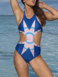 Printed Cut Out Halter One-Piece Swimwear