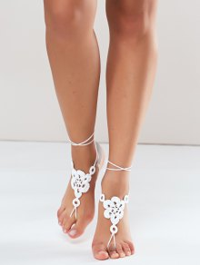 Floral Woven Sandal Anklets - White