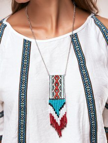 Knitted Bead Tassel Necklaces
