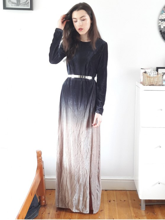 Side Slit Long Sleeve Gradient Color Dress - BLACK XL Mobile