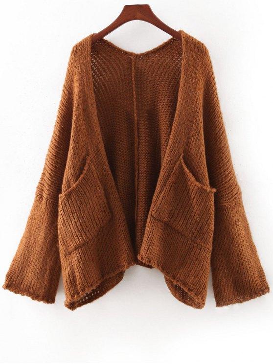 Pure Color Pockets à manches longues Cardigan - Kaki Foncé TAILLE MOYENNE