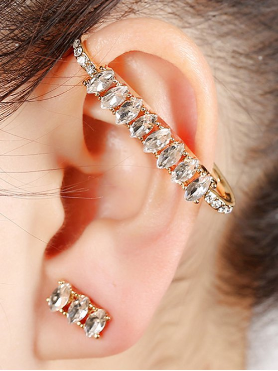 women Sparkly Rhinestone Cuff Earring - GOLDEN
