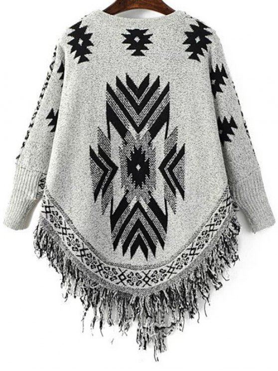 Geometric Tassels Round Neck Long Sleeve Jumper - BLACK AND GREY ONE SIZE Mobile