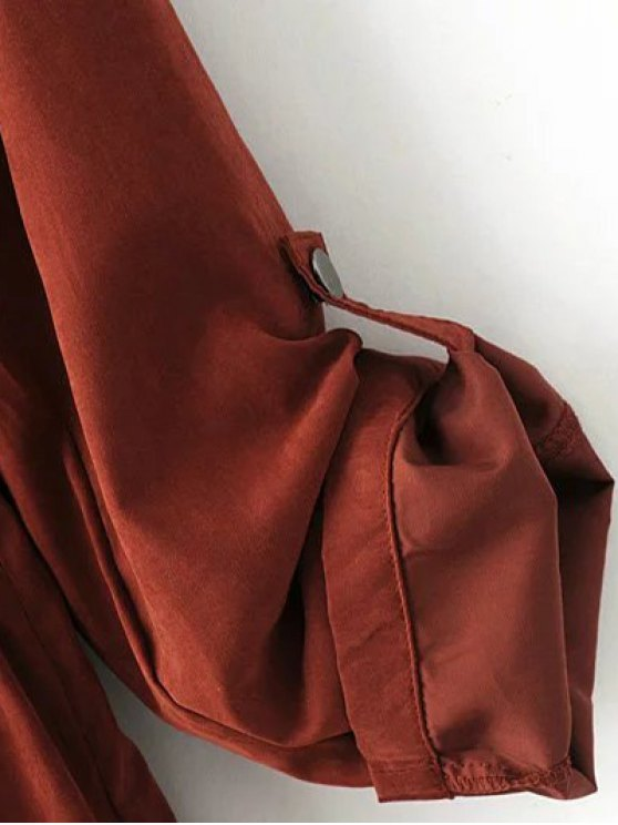 Solid Color Hooded Drawstring Inclined Zipper Coat - LATERITE S Mobile