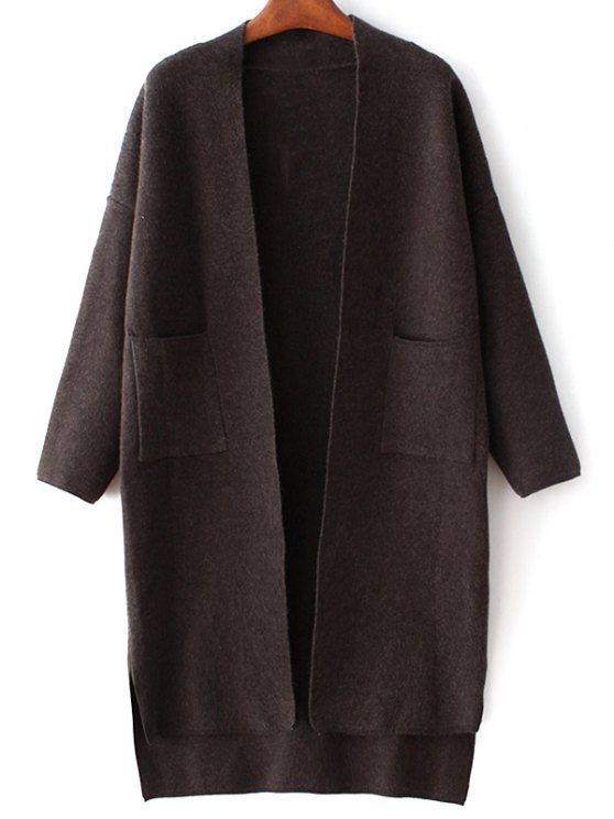 best Long Sleeve Pockets Solid Color Cardigan - BLACK ONE SIZE