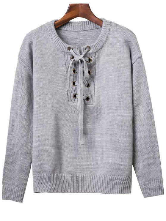 Lace Up Round Neck Solid Color Sweater - GRAY ONE SIZE Mobile