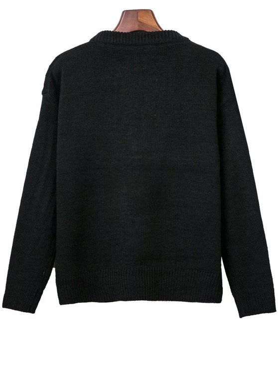Lace Up Round Neck Solid Color Sweater - BLACK ONE SIZE Mobile