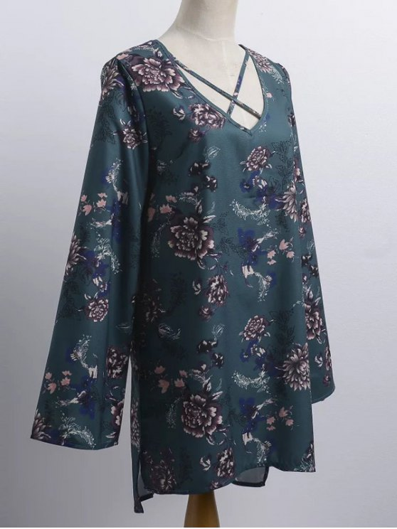 Floral Print V Neck Long Sleeve Strappy Dress - BLACKISH GREEN ONE SIZE Mobile