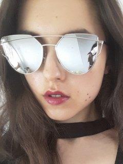 Silver Frame Metal Bar Sunglasses - Silver