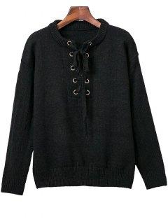 Sweatshirt à Col Round à Manches Longues En Couleur Pure à Lacets Pour Les Femmes - Noir