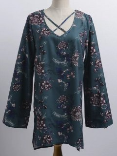 Floral Print V Neck Long Sleeve Strappy Dress - Blackish Green