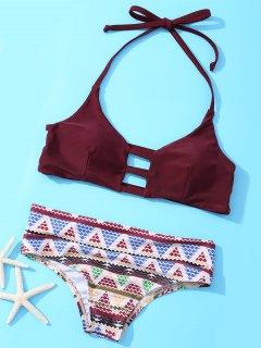 Halter Geometric Bikini Set - Wine Red L