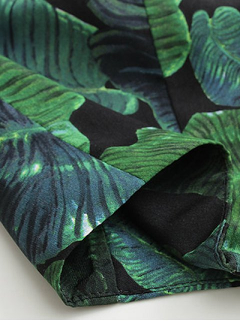 shops Straps Single-Breasted Leaves Print Crop Top - GREEN S Mobile