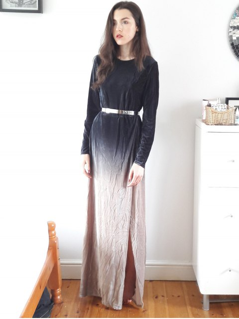 fashion Side Slit Long Sleeve Gradient Color Dress - BLACK XL Mobile