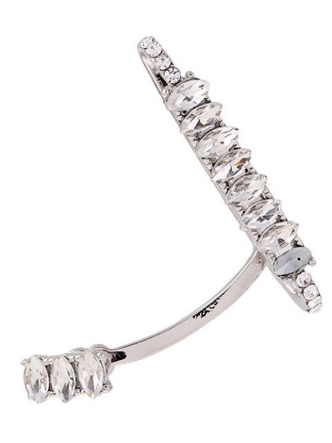 women's Sparkly Rhinestone Cuff Earring - SILVER  Mobile