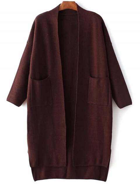 lady Long Sleeve Pockets Solid Color Cardigan - PURPLISH RED ONE SIZE Mobile