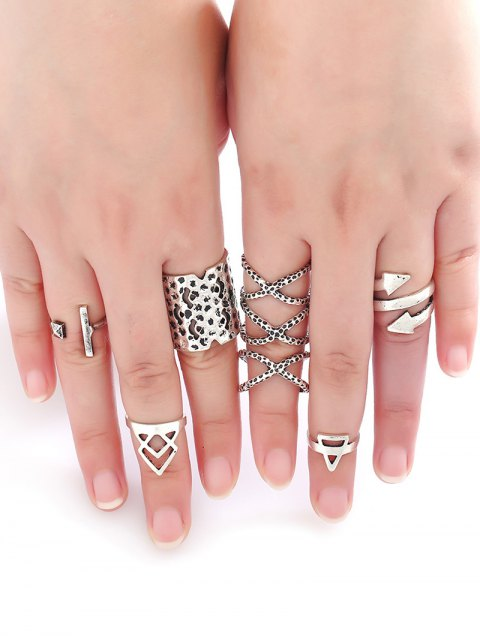 shops Etched Arrow Crossed Rings - SILVER  Mobile