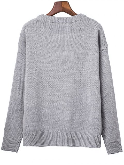 latest Lace Up Round Neck Solid Color Sweater - GRAY ONE SIZE Mobile