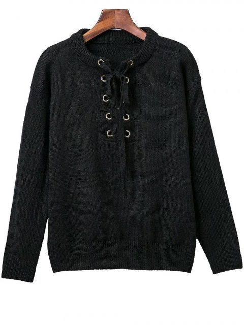 trendy Lace Up Round Neck Solid Color Sweater - BLACK ONE SIZE Mobile