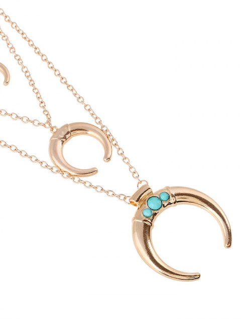 affordable Faux Ox Horn Layered Necklace - GOLDEN  Mobile