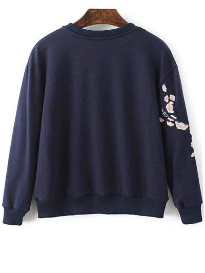 Floral Embroidered Round Neck Sweatshirt - PURPLISH BLUE S Mobile