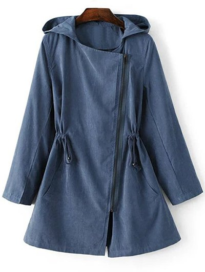 Solid Color Hooded Drawstring Inclined Zipper Coat - Blue