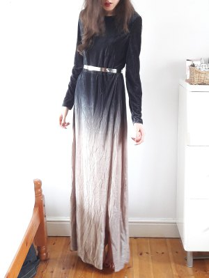 Side Slit Long Sleeve Gradient Color Dress - Black