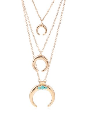 Faux Ox Horn Layered Necklace - Golden