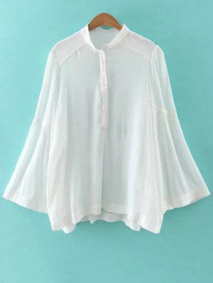 Solid Color Stand Neck Flare Sleeve Blouse - White