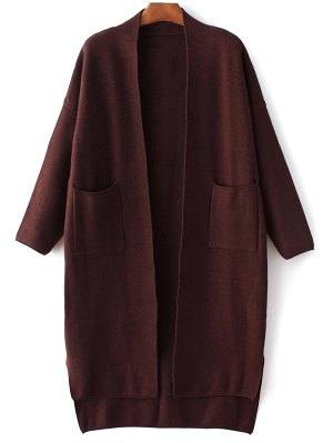 Long Sleeve Pockets Solid Color Cardigan - Purplish Red