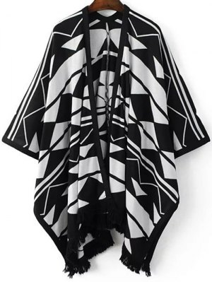 Geo Fringed Poncho Cardigan - White And Black