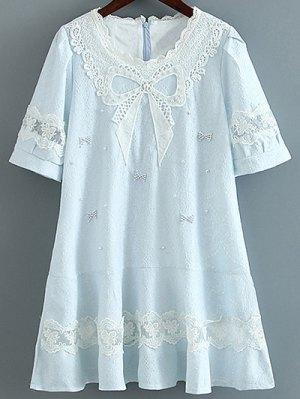 A Line Bow Dress - Light Blue