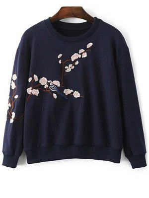 Floral Embroidered Round Neck Sweatshirt - Purplish Blue