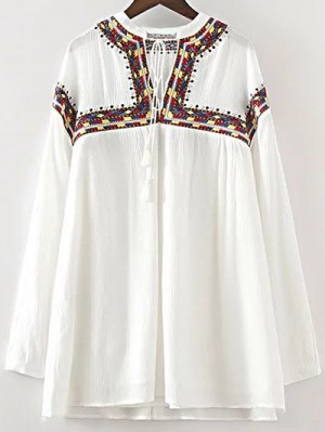 Embroidered V Neck Long Sleeve Dress - White
