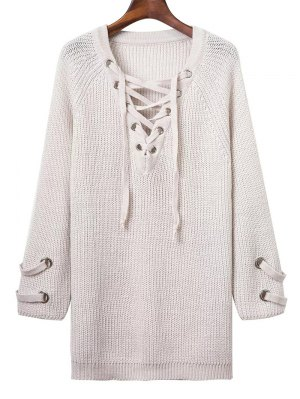 Lace Up V Neck Solid Color Sweater - White