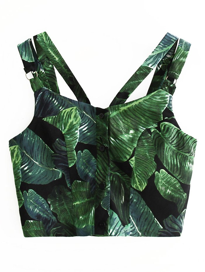 Straps Leaves Print Single-Breasted Crop Top