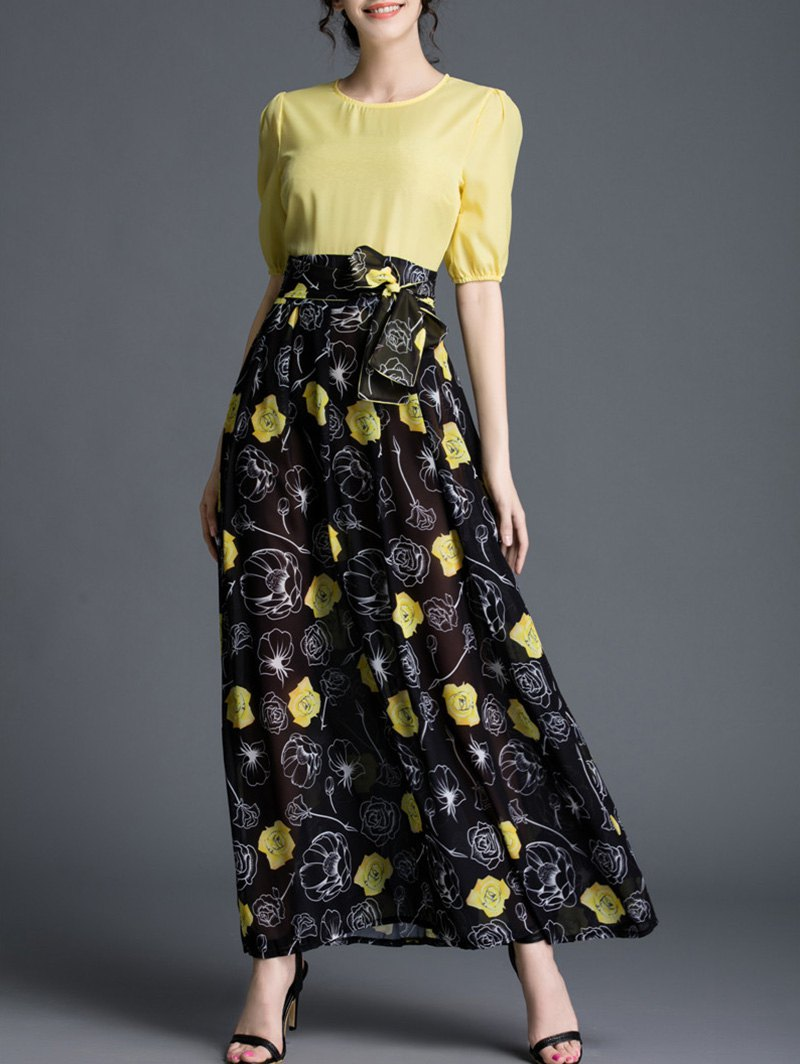 Round Neck High Waisted Floral Spliced Maxi Dress