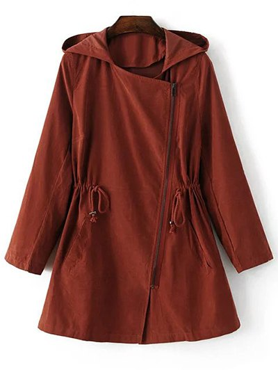 Hooded Drawstring Inclined Zipper Solid Color Coat