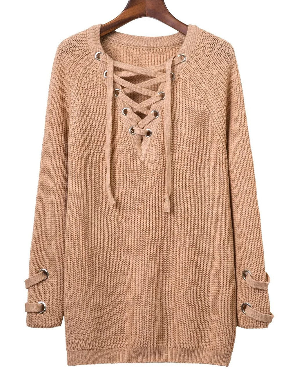 V Neck Long Sleeve Lace Up Solid Color Sweater