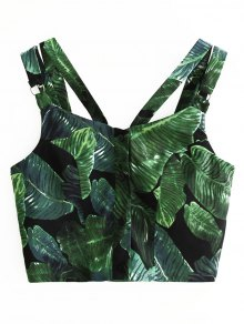 Straps Single-Breasted Leaves Print Crop Top - Green S