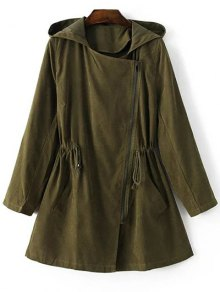 Solid Color Hooded Drawstring Inclined Zipper Coat
