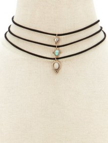 Faux Opal Layered Necklace - Black