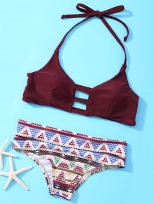 Halter Geometric Bikini Set - Wine Red