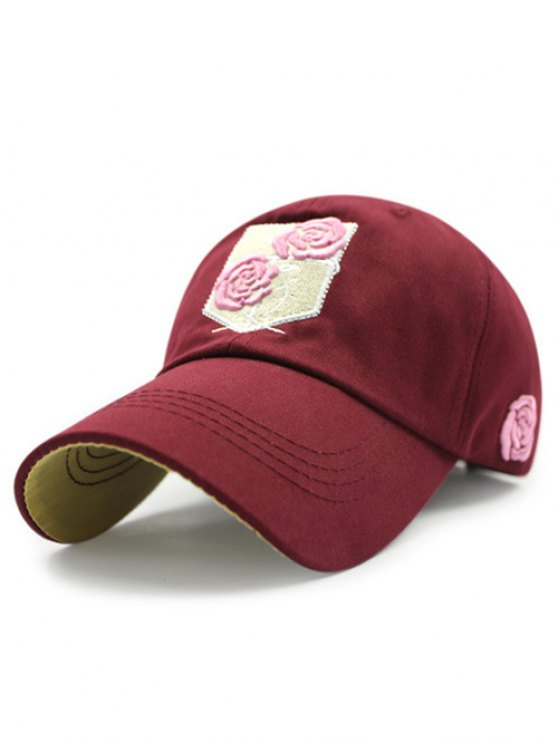 Rose Embroideried Baseball Hat - Rouge vineux