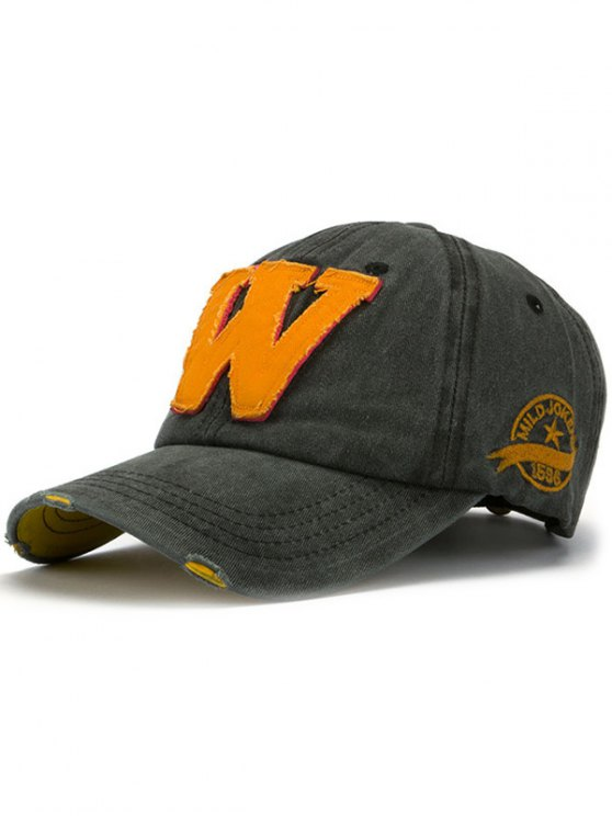 womens Letter W Baseball Hat - DEEP GRAY