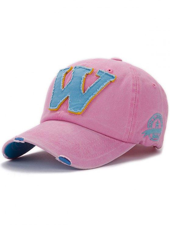 ladies Letter W Baseball Hat - PINK