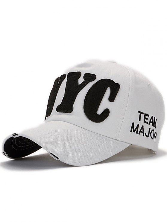Letter Applique Baseball Hat - WHITE  Mobile