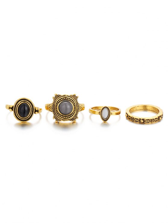 Fake Gem Embossed Rings - GOLDEN  Mobile