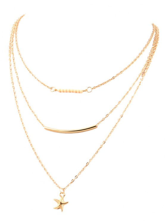 lady Starfish Bead Layered Necklace - GOLDEN